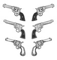 collarbone tattoo revolvers set sketch vector image