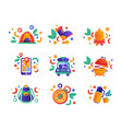 collection travel and camping equipment summer vector image