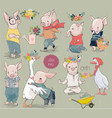 collection with piggy and duck vector image vector image