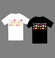 colored hearts love t-shirt template vector image