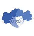 contour pretty girl face with haistyle and glasses vector image vector image