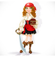 cute pirate girl with cutlass and chest isolated vector image vector image