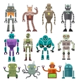 Cute vintage robot icons and characters vector image vector image