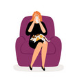 depressed woman and cat vector image
