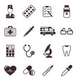 digital black medical icons vector image vector image