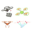drone icon set cartoon style vector image