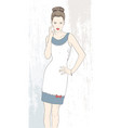 fashion woman in white dress vector image vector image
