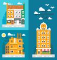 Flat design old european buildings vector image vector image
