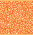 fresh yummy and sliced oranges seamless pattern vector image