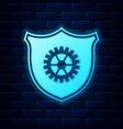 glowing neon shield with gear icon isolated on vector image vector image