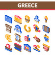 greece country history isometric icons set vector image vector image
