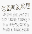 grunge alphabet font template letters and numbers vector image
