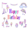happy birthday holiday card with colorful balloons vector image