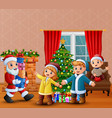 happy santa claus holding a gifts for children vector image vector image