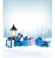 Holiday Christmas background with a gift boxes vector image vector image
