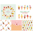 ice cream big set seamless patterns templates vector image vector image
