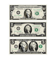 in this graphic the 1 and 2 dollar bills are mere vector image vector image