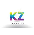 kz k z colorful letter origami triangles design vector image