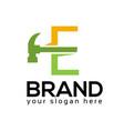 letter e hammer logo flat design vector image vector image