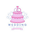 line logo design with wedding cake and rings on vector image vector image