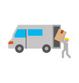 logistic delivery worker box loader truck van vector image vector image