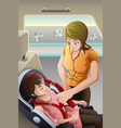 mother strapping seatbelt on her child car seat vector image vector image