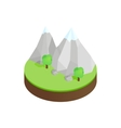 Mountains in the snow in green valley icon vector image vector image