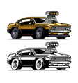 muscle car with big super charger engine out off vector image vector image