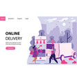 online delivery concept with women buying stuff vector image vector image