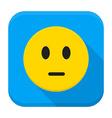 Pensive Yellow Smiley Face App Icon vector image vector image