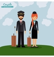 pilot and flight attendant design vector image
