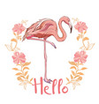 pink flamingo isolated on white background vector image