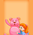 plain background with girl and big teddy bear vector image vector image