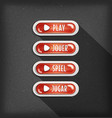 play buttons design in multiple languages for vector image vector image