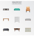 realistic cupboard settee table and other vector image vector image