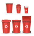Red recycling bin bucket for metal trash