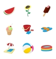 Relax on beach icons set cartoon style vector image