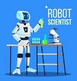robot scientist laboratory chemist standing with vector image vector image