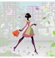 Romantic city shopping girl vector | Price: 1 Credit (USD $1)