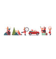 set girl in santa claus costume merry christmas vector image