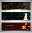 set horizontal christmas banners winter theme vector image