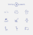 set of 9 editable animal icons includes symbols vector image vector image