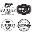 set of butcher shop and butchery hand written vector image vector image
