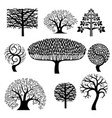 set silhouettes of trees vector image vector image
