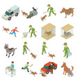 stray animals icons set isometric style vector image vector image