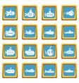 Submarine icons set sapphirine square