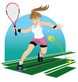 tennis player isolated girl playing tennis vector image vector image