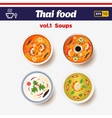 Thai food icon set Hot spicy chilly soups with vector image