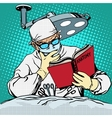 The surgeon before surgery is reading anatomy vector image vector image