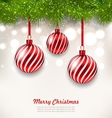 Christmas Background with Glass Hanging Balls vector image
